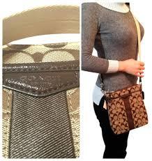 Coach New Signature Monogram Khaki Jacquard Fabric Leather Small Zip Handbag  Purse Swingpack File Cross Body ...