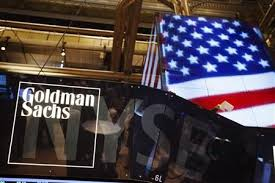 the goldman sachs logo is displayed on a post above the floor of the new york