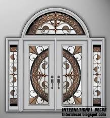 white american wooden door with stained glass and glided glass