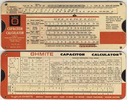 capacitor conversion chart cardboard calculators slide charts and wheel charts for antique