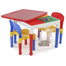 table 2 chairs. tot tutors 2-in-1 plastic building block compatible activity table and 2 chairs