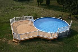 deck around above ground pool beautiful simple ground pool decks design open field white fence