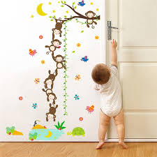 Us 8 73 48 Off Cartoon Monkey Height Scale Measure Chart Wall Stickers For Kids Rooms Boys Girls Children Bedroom Home Decor Nursery Wall Decal In