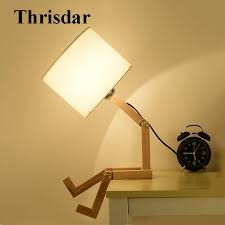 2019 Thrisdar Diy Foldable Robot Wooden Table Lamp With E27 Holder