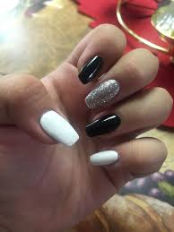 Cool Nail Designs With Black And White Coffin Nails Black White And Silver White Silver Nails