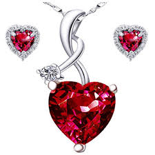 details about sterling silver heart cut aaa created red ruby pendant necklace earrings set