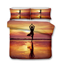 3d bedding sets yoga tree standing duvet covers pillow case queen size all size no filler a duvet covers queen satin bedding sets from