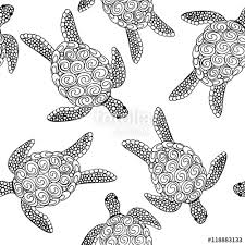 Turtle Pattern Simple Vector Seamless Colorful Turtle Pattern With Hand Drawn Turtle