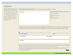 How To Fill Out Direct Deposit Form Free Netspend Direct Deposit Authorization Form Pdf Eforms