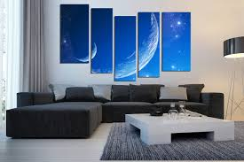 5 Piece Photo Canvas Blue Wall Art Modern Huge Canvas Art Moon