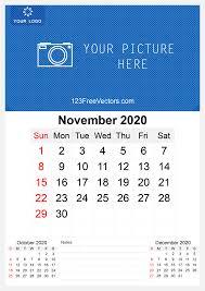 November 2020 Calendar Clip Art November Clipart Free Vector Graphics 123freevectors