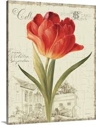 >garden view iii red tulip wall art canvas prints framed prints  garden view iii red tulip canvas
