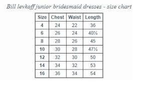 junior size bill levkoff junior bridesmaid size chart