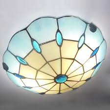 new blue stained glass chandelier light fixture tiffany flush mount ceiling lamp