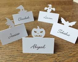 Personalised Bat Place Cards, Personalized Halloween Place Cards, Table, Dinner  Party, Ivory, White, Black Wedding Place Cards, Escort PC08