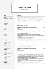 Example Teaching Resumes English Teacher Resume Template Cv Sample Word Free Esl