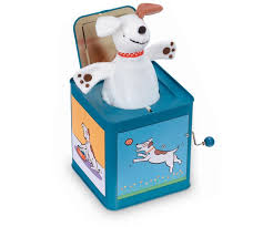 jack in the box toy. jack the dog in box toy t