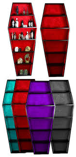 furniture etc. a black coffin shaped book case with high quality padded material lining in red (purple, black, blue etc). furniture etc