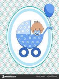 baby postcard baby boy africa postcard blue lines rhombuses vector little boy