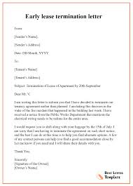 early lease termination letter format