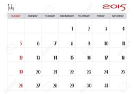 July 2015 Calendar Royalty Free Cliparts Vectors And Stock