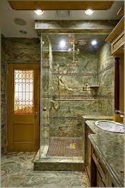 custom steam shower with onyx slabs and glass tile accents eclectic bathroom