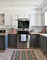 brown gray and white kitchen cabinets
