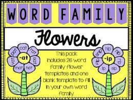 Word Families Template Word Family Flowers Worksheets Teaching Resources Tpt