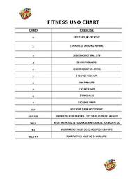 Fitness Uno Exercise Chart
