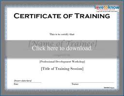 Certificate Of Training Completion Template Free Training Certificate Templates Lovetoknow