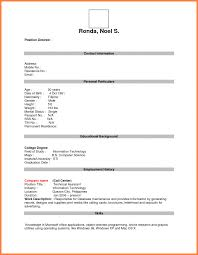 Blank Form Of Resumes 020 Biodata Form Philippines Fill Up Printable Word Example