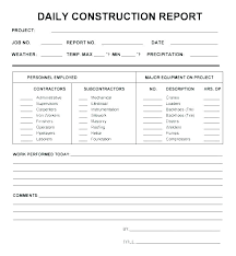 Daily Report Template Daily Construction Report Template And