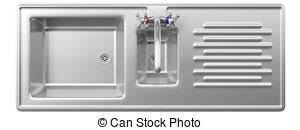kitchen sink top view. Stainless Steel Kitchen Sink And Water Tap Isolated On White Background, Top View. 3d View
