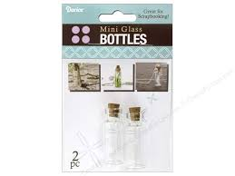 darice mini glass bottle with cork top 1 3 4 in clear 2 pc