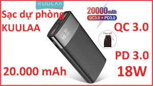 Pin sạc dự phòng Kuulaa sạc nhanh PD 3.0 QC 3.0 18W - YouTube
