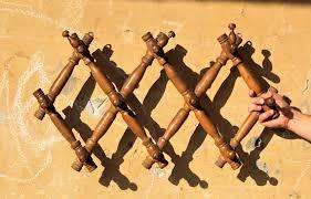 Metal Accordion Coat Rack Wooden Coat Rack Wall Coat Rack Folding Peg Rack Vintage 98