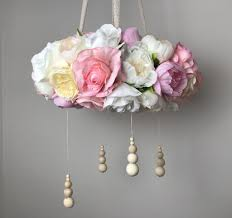 girls large pink beige and white fl nursery chandelier mobile with wooden beads