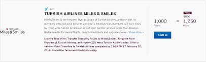 Turkish Airlines Redemption Chart Transfer Citi Thankyou Points To Turkish Airlines With A 25