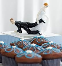 Funny Wedding Cake Topper Bride Dragging Groom