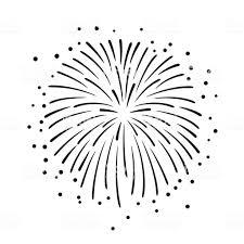 白い背景に手描きの黒い花火のイラスト お祝いのベクターアート素材や