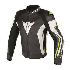 dainese assen leather jacket blk wht yel