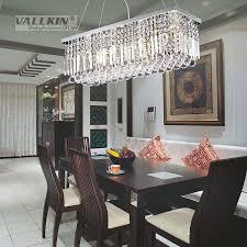 dining room crystal lighting vallkin modern rectangular chandelier length