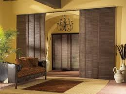 Stunning wooden sliding door in a rustic living room
