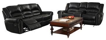 black leather living room furniture sets. homelegance center hill 2 piece living room set in black leather contemporary-living-room furniture sets r