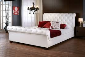 upholstered leather sleigh bed. Living Fascinating Queen Size Leather Bed 34 Elizabeth White Colette Sleigh Upholstered