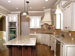 Simple Kitchen Ideas Antique White Cabinets Cabinetry With Granite Island Inside Creativity