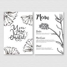 Menu Card Template Watercolor Black And White Floral Wedding Menu Card Template