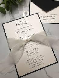 Black And White Wedding Invitation Silk Ribbon Wedding Invitation Raw Edge Silk Ribbon Invitations Ribbon Wedding Invitations