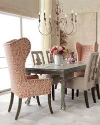 liday dining table benjamin carved back chair and pink damask wing chair by haute house at horchow dream hom dinning room minus the end chairs