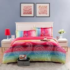 red yellow and aqua blue large paisley pop print full queen size modern chic bedding sets